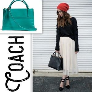 • Authentic Coach Borough Teal Polished Calfskin •